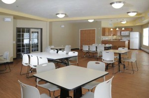 A community room with full kitchen accommodates residents and special events.